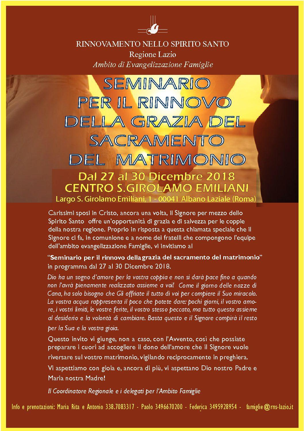 Famiglia, dal 27 al 30 dicembre Seminario per sposi ad Albano Laziale