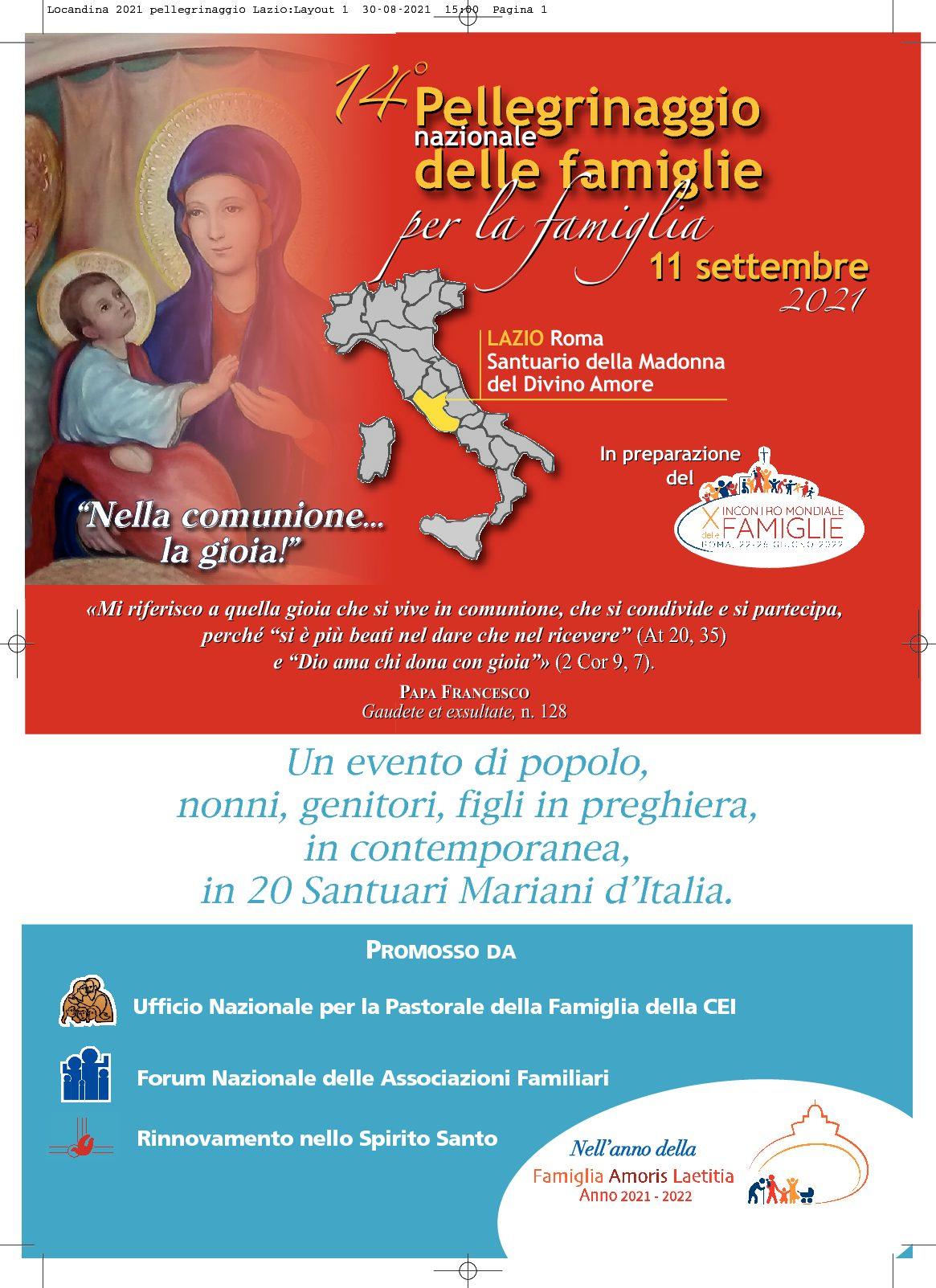 Grande attesa per il 14° Pellegrinaggio Nazionale delle Famiglie per la Famiglia